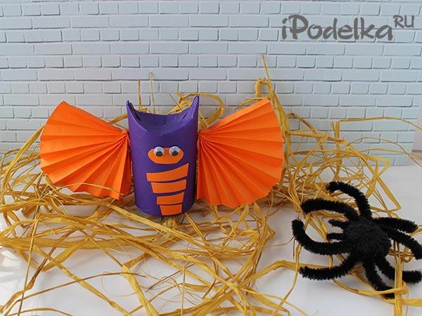 Летучая мышь на хэллоуин из бумаги