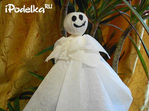 Привидение из салфеток на хэллоуин