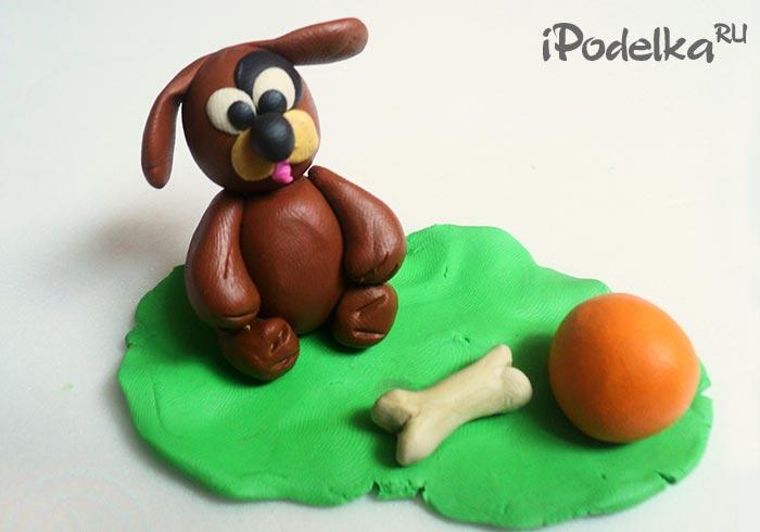 Забавная собачка из пластилина
