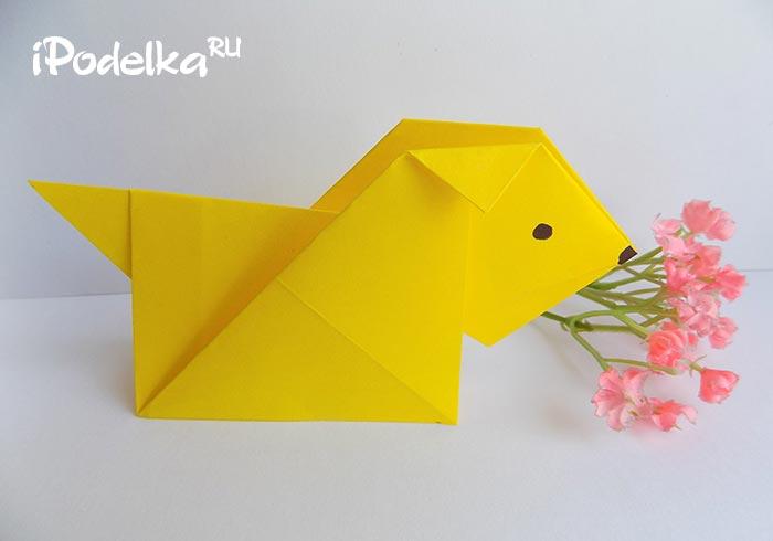 Фокстерьер в технике оригами