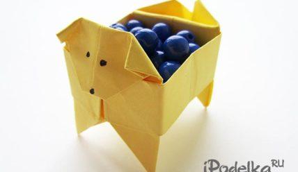 Как сделать коробочку собачку в технике оригами