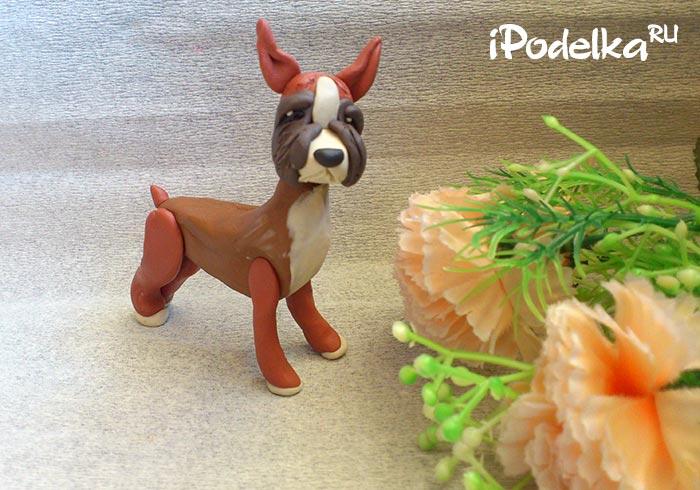 Собака боксер из пластилина фото