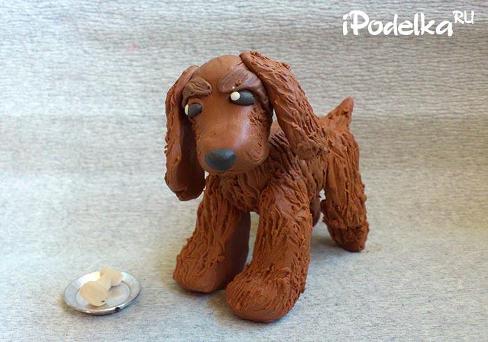 Собака спаниэль из пластилина