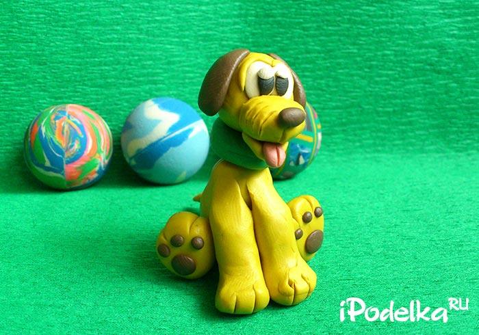 Желтый щенок из пластилина как слепить