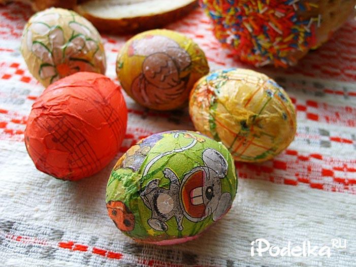 Декорирование яиц на Пасху салфетками