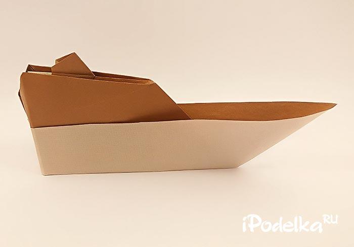 Катерок оригами из бумаги