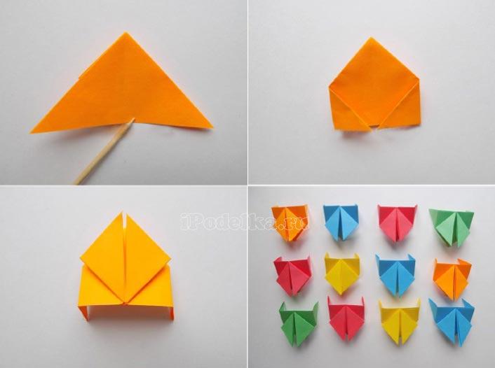 Гусеница в технике оригами из бумажных квадратиков