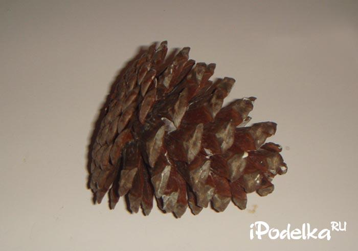 Поделка из природных материалов — ёлочка из шишки