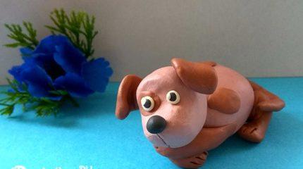 Как слепить маленькую собачку из пластилина